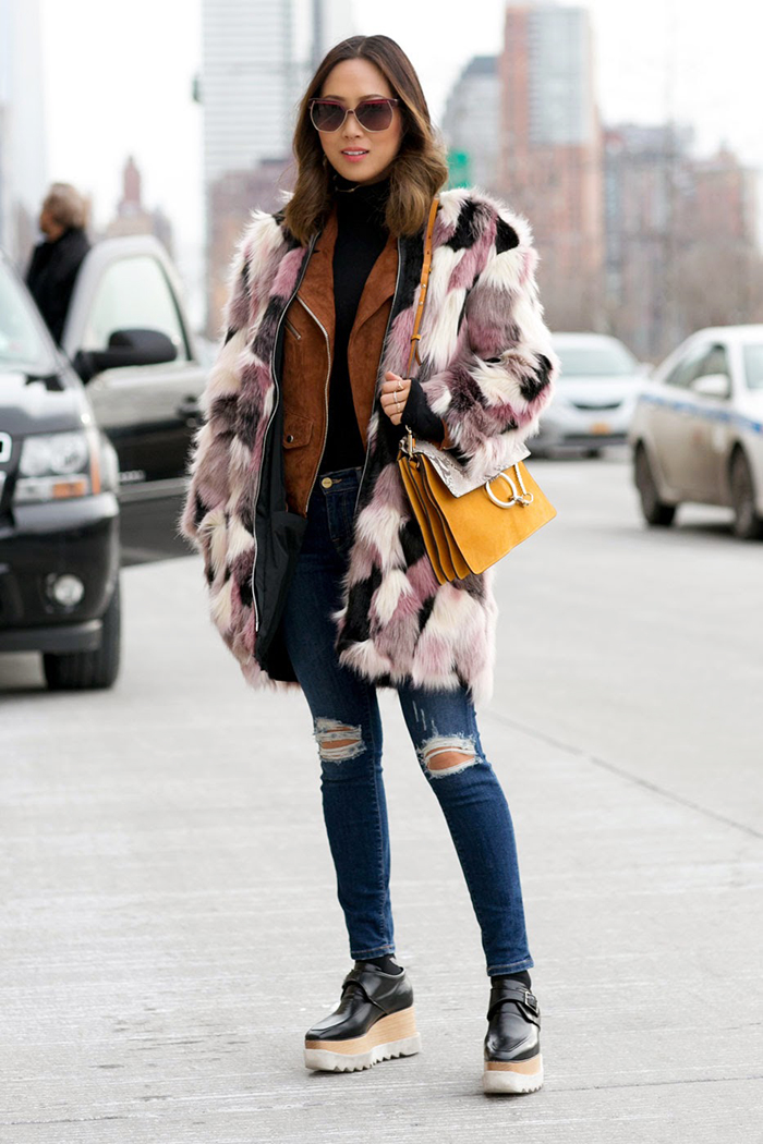 aimee_song_faux_fur_coat_skinny_jeans_stella_mccartney_flatforms