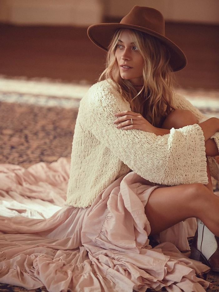 cream-sweater-and-ruffle-maxi-skirt
