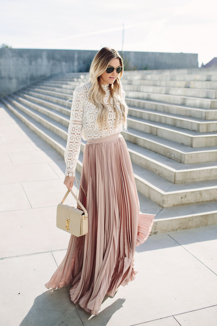 lace-top-blush-pleated-skirt-ysl-purse-dash-of-darling